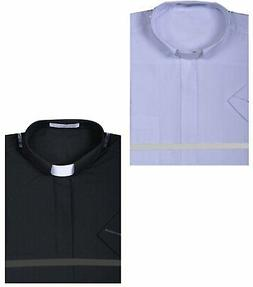 Men's Short Sleeve Solid Color Tab Collar Clergy Shirt