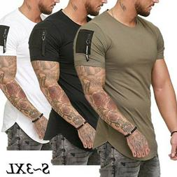 Men's Slim Fit O Neck Short Sleeve zipper Muscle Tee T-shirt