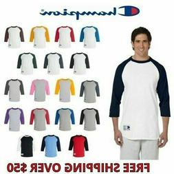 Champion Mens 3/4 Sleeve Raglan Jersey T-Shirt Baseball S-3X