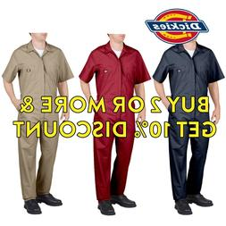 MENS DICKIES 33999 SHORT SLEEVE COVERALLS BLACK RED GREY KHA