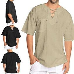 Mens Baggy T-Shirt Cotton Linen Tee Hippie Shirts Blouse Lon