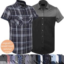 Mens BUTTON DOWN SHORT SLEEVE Tee Summer Casual Top Collared
