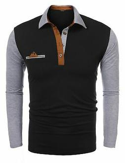 mens casual stitching polo shirt striped collar