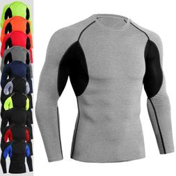 Mens Compression Shirt Long Sleeve Top Workout Gym Base Laye