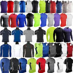 Mens Compression Under Shirt Base Layer Tight Tops Gym Sport
