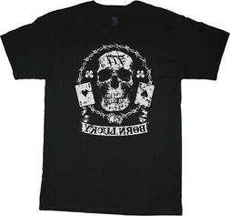 Mens Graphic Tees Born Lucky 777 Skull Shirt Clothing Appare