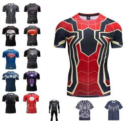 Men's Superman Gym Superman Superhero T-shirt Fitness Sports