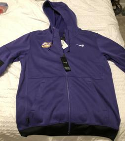 Mens Large Nike LSU Therma Hooded Zip Up Official On Field A