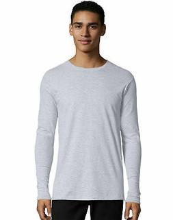 Hanes Mens Long Sleeve Tee TAGLESS Nano T Shirt Ringspun Cot