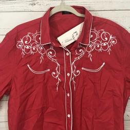 COOFANDY Mens Red Embroidered Long Sleeve Western Shirt Size