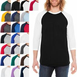 American Apparel Mens T-Shirt 3/4 Sleeve Raglan Baseball Tee