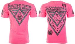 American Fighter Mens S/S T-Shirt ALASKA PATTERN Pink Elepha