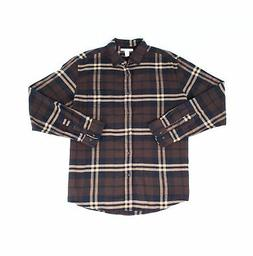 AMAZON ESSENTIALS NEW Brown Mens Large L Button Down Plaid S