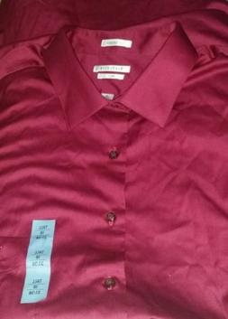 NEW Men's Big & Tall Maroon Wine Deep Red Dress Shirt 18  37