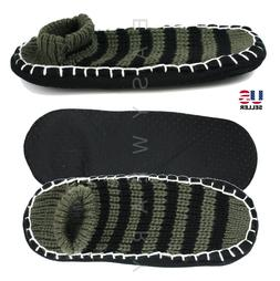 New Mens Cozy Knit House Floor Room Indoor Non-Skid Slippers