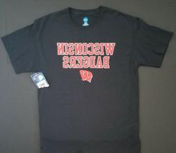 NWT KNIGHTS APPAREL NCAA  WISCONSIN BADGERS BLACK T-SHIRT ME