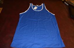 NWT American Apparel Mens Blue Combed Cotton Tank Shirt Whit