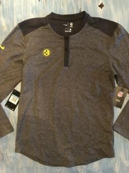 pittsburgh steelers Nike Mens Medium 3 Button Henley Gray Bl