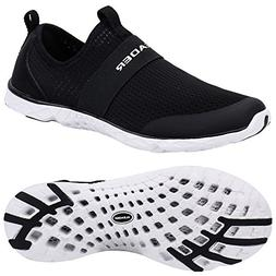 ALEADER Men's Quick-Dry Aqua Water Shoes Black/White 9 D US
