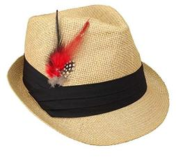 Apparel Sector Straw Fedora Hats for Men with Fashion Feathe