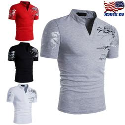 Stylish Men's Tee Shirt Slim Fit V-Neck Short Sleeve Muscle