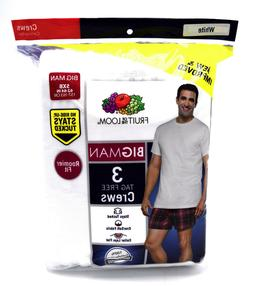 Fruit of the Loom Men's 3-Pack Big Size Crew T-Shirt, White,