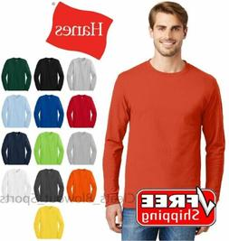 Hanes 5586 Mens Tagless Long Sleeve T-Shirt Comfort Cotton S