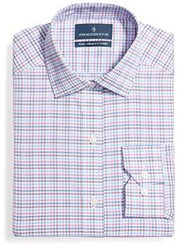 BUTTONED DOWN Men's Tailored Fit Spread-Collar Pattern Non-I