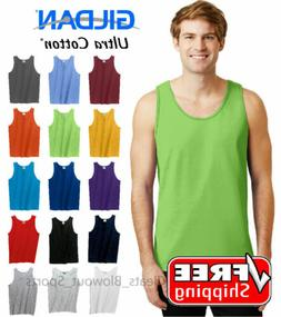 Gildan Tank Top Ultra Cotton Men's Workout Fitness Shirt Sol