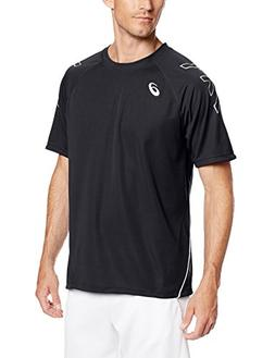 ASICS Men's Team Performance Tennis Jersey, Black/White, Lar