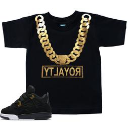 Toddler ROYALTY Gold Chain T Shirt to match with Jordan 4 Re