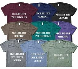 American Apparel Tri Blend T-Shirt Vintage Style Track Tee S