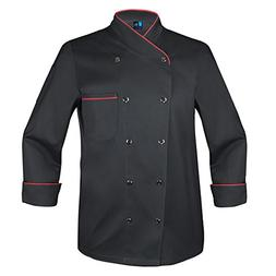 10oz apparel Twill Snap Front Chef Coat Long Sleeve Black/Re
