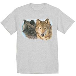 Two Wolves Wolf T-shirt Mens Graphic Tee Clothing Apparel