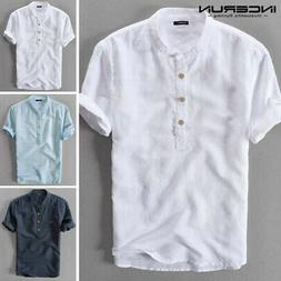 UK Men's Linen Short Sleeve Solid Shirts Casual Loose Dress