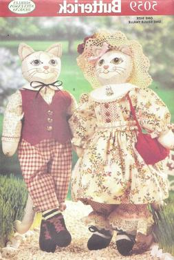Vintage KITTY CAT Doll/s Man & Woman with Clothing Sewing Pa