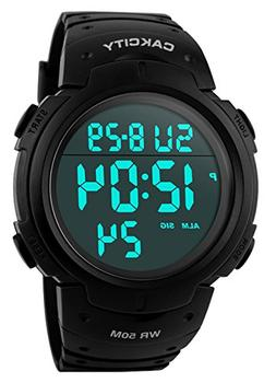 CakCity Men's Digital Sports Watch LED Screen Large Face Mil