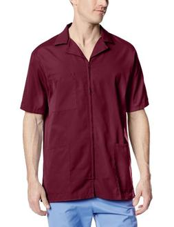 Cherokee Workwear Scrubs Men's Zip Front Jacket, Wine, X-Lar